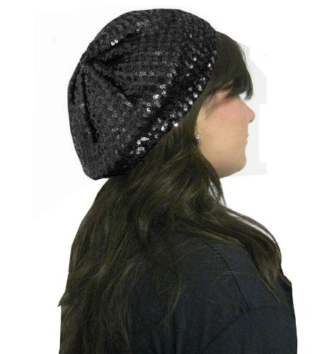 Black Shiny Sequin Beret
