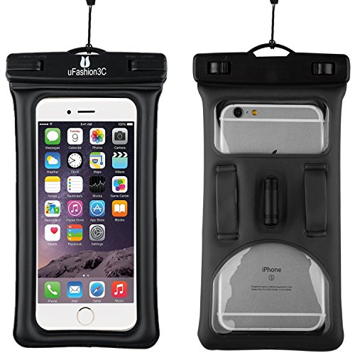 uFashion3C [Float] Waterproof Cell Phone Case Dry Bag Pouch [With Headphone Jack,Armband,Lanyard] for iPhone 6,6S,6 Plus,6S Plus, Samsung Galaxy S5,S6,S7,Edge,Note 3,4,5,LG G3,G4,G5 (Black)