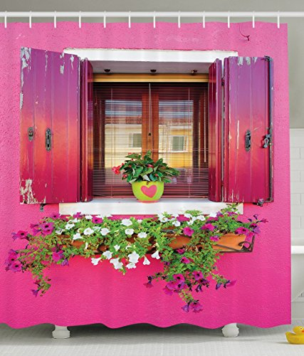Dreams Romantic Atmosphere Decor Lovers House Wooden Windows Hearts Flowers Fabric Shower Curtain Fuchsia Pink Green White