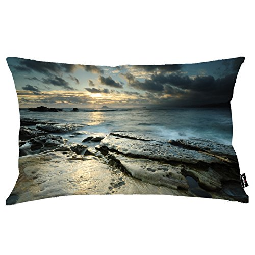 i FaMuRay Decorativa per Cuscino (Insert & Cover), Dark Sunset Clouds Above The Ocean King Size 20x36