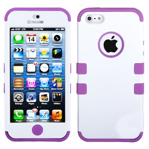 Mylife (Tm) Lavender Purple And White - Colorful Robot Series (Neo Hypergrip Flex Gel) 3 Piece Case For Iphone 5/5S (5G) 5Th Generation Itouch Smartphone By Apple (External 2 Piece Fitted On Hard Rubberized Plates + Internal Soft Silicone Easy Grip Bumper