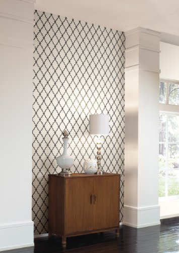 Wall In A Box WIB1015 Trellis Off Wallpaper, White, Jet Black