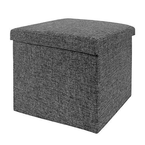 Seville Classics Foldable Storage Cube/Ottoman, Charcoal Grey (Storage Stool Seat compare prices)