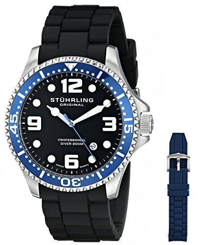 Stuhrling Original Men's 675.01SET Aquadiver Swiss Quartz Additional Blue Strap Watch Set