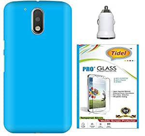 Tidel Ultra Thin and Stylish Rubberized Back Cover for Moto G Plus 4th Gen ( G4 Plus / G 4th Generation ) With Tidel 2.5D Curved Tempered Glass & Car Charger Adapter