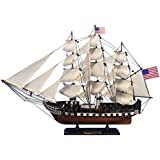 """USS Constitution 24"""" - Wooden Model Warship - Decorative Wood Tall Ship"""