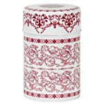 Red Filigree Tea Canister