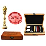 MNYR Dragonfly Luxury Wood Box Rose Gold Metal Peacock Wedding Invitations Gift Cards Paper Stationary Envelope Seals Custom Logo Wax Seal Sealing Stamp Wax Sticks Melting Spoon Wood Gift Box Kit (Color: Gold)