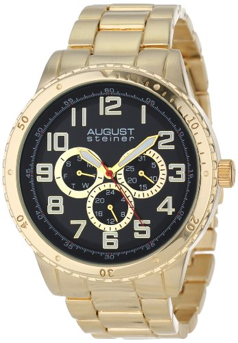 August Steiner Men's Quartz Watch with Black Dial Analogue Display and Gold Alloy Bracelet AS8060YG