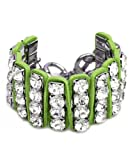 Madison Ave Fashion Clear Stones Green Cord Bracelet