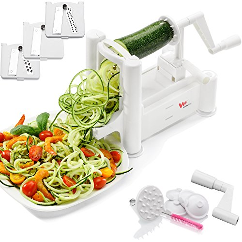 WonderVeg Vegetable Spiralizer - Tri Blade Spiral Slicer - Cleaning Brush, Mini Recipe Book and 6 Spare Parts Included - Zucchini Spaghetti Pasta Noodle Maker (Countertop White End Cap compare prices)