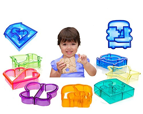 Sandwich Crust Cutter for Kids - Set of 9 Crust & Cookie Cutters - Dinosaurs, elephants, butterflies, five-pointed star, puppy, quadrilateral, puzzles, car, love (Canada Fun compare prices)