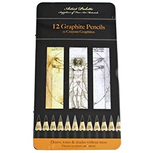 12 assorted graded artists graphite drawing sketching pencils (5H to 6B) in metal storage tin case
