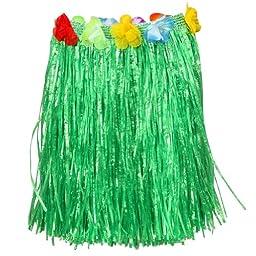 LUAU - 6 kids FLOWERED GREEN HULA skirts