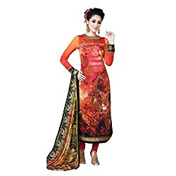 Resham Fabrics Orange French Crepe Dress Material