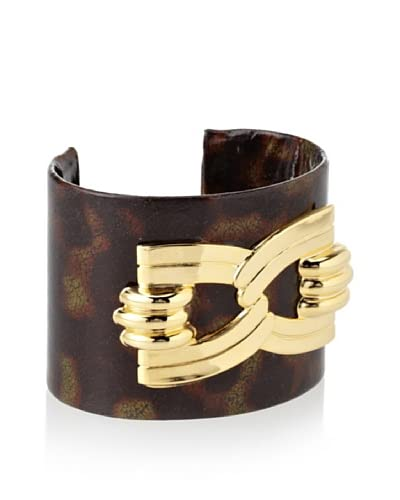a.v. max Tortoise Leather Buckle Cuff