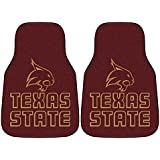 """NCAA Texas State University Carpeted Car Mat (2 Piece), 18"""" X 27""""/Small, Black"""