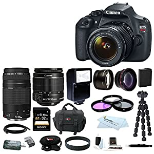 Canon Rebel T5 DSLR Camera with EF-Ss 18-55mm IS II & 75-300mm Zoom Lens + Spare Battery + Auto Slave Flash + Wide Angle and Telephoto Lenses+32GB Deluxe Accessory Kit