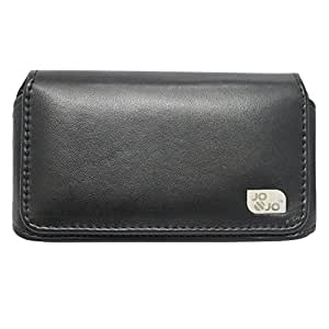 Jo Jo A4 Plain Belt Case Mobile Leather Carry Pouch Holder Cover Clip For Intex Aqua 4.5 Pro Black