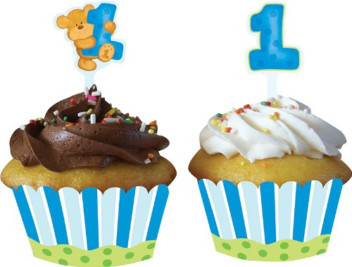 Creative Converting Bears First Birthday Cupcake Wrappers with Picks, Blue - 1