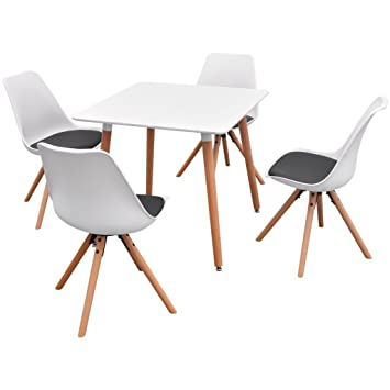 vidaXL 5-tlg. Essgruppe Esszimmer Stuhle Sitzgruppe Esstischset Weiß und Schwarz