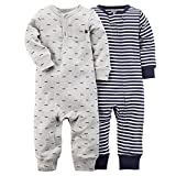 Carter's (カーターズ) :: ロンパース カバーオール 長袖 2枚組 男の子 綿100% :: 2-Pack Jumpsuits :: 3M (55-61cm) :: 55-61 cm :: 正規タグ付き