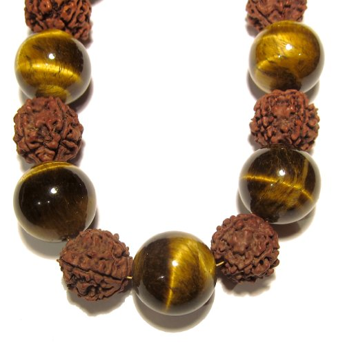 Tigers Eye Necklace 05 Beaded Choker Rudraksha Seed Gemstone Chunky Healing Brown 15