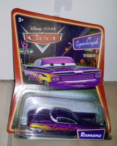 Disney Cars: Purple Ramone on Supercharged Background Card 1:55 Scale Diecast Mattel - 1