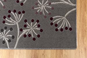 Pandora- Large Modern Rug with Floral Pattern-Grey with Dark Cream Stems & with Purple, Aubergine & Grey Flowers 120x230cm from Home Solutions