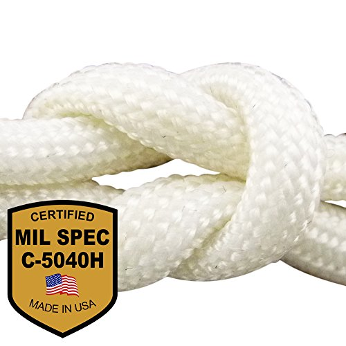 MilSpec White 110 ft. 8-Strand Hank Paracord. Guaranteed MIL-C-5040H Compliant, Military Survival 550 Parachute Cord, Type III. Made in U.S.