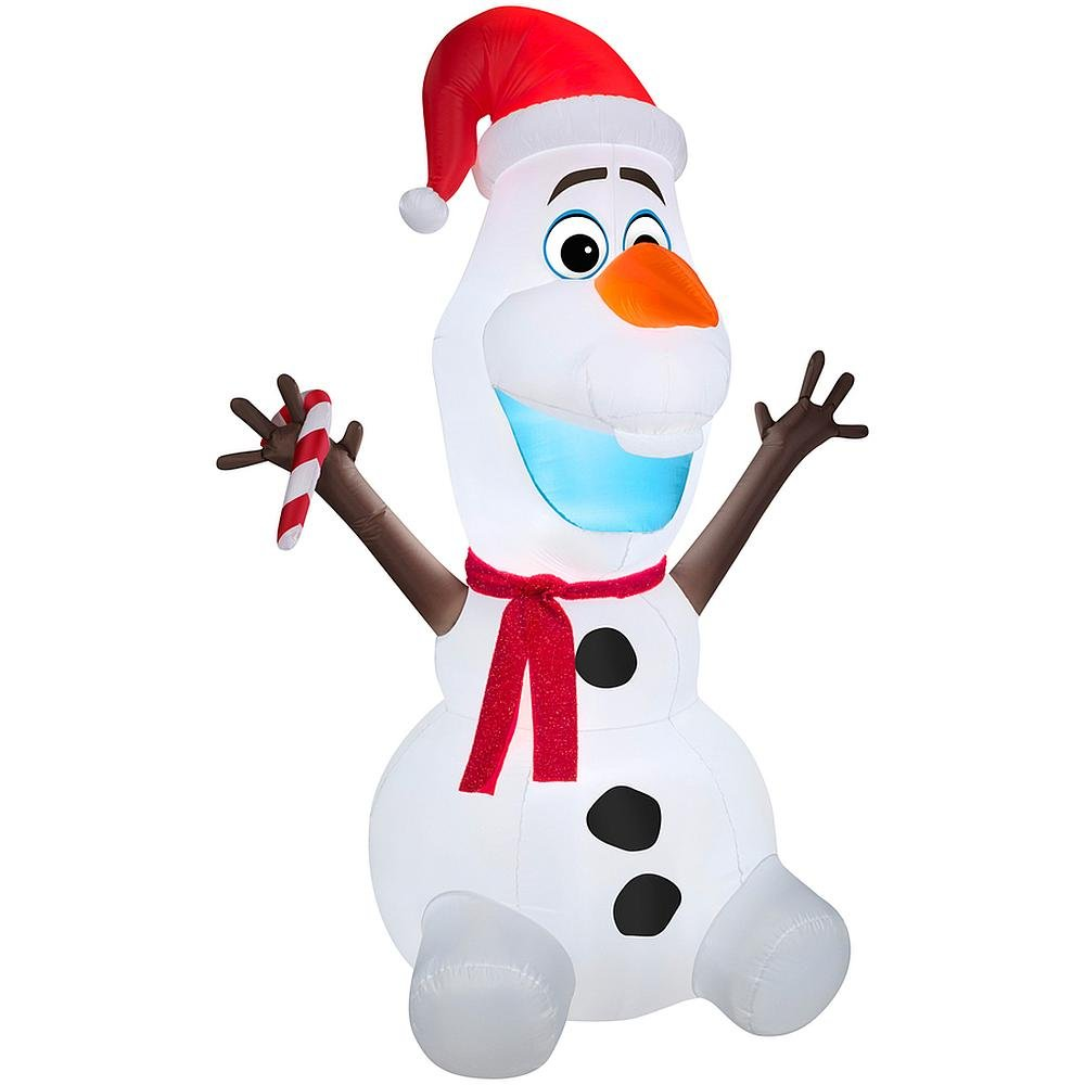 Olaf with Scarf and Santa Hat Inflatable Outdoor Light Christmas Decoration