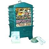 VermiHut 5-Tray Worm Compost Bin, Dark Green