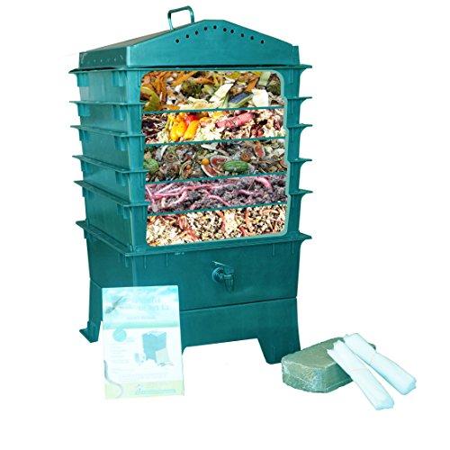 vermihut-5-tray-worm-compost-bin-dark-green