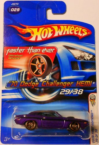 2006 First Editions -#29 1970 Dodge Challenger Hemi Purple FTE Wheels #2006-29 Collectible Collector Car Mattel Hot Wheels 1:64 Scale - 1
