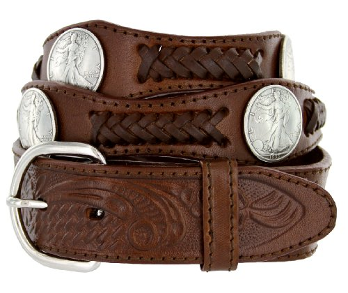 Walking Liberty Memorial Coin Concho Western Embossed Leather Belt (42 Brown)