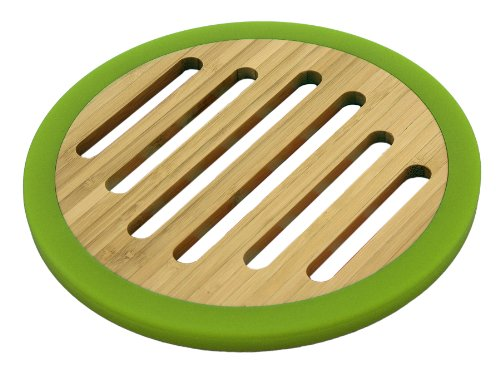 Totally Bamboo 20-6549 Silicone Non-Skid Round Trivet (Green)