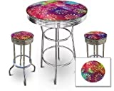 3 Piece Bar Table Seat Featuring Tie Dye Themed Table Top with Glass Top and 2 Swivel Bar Stools