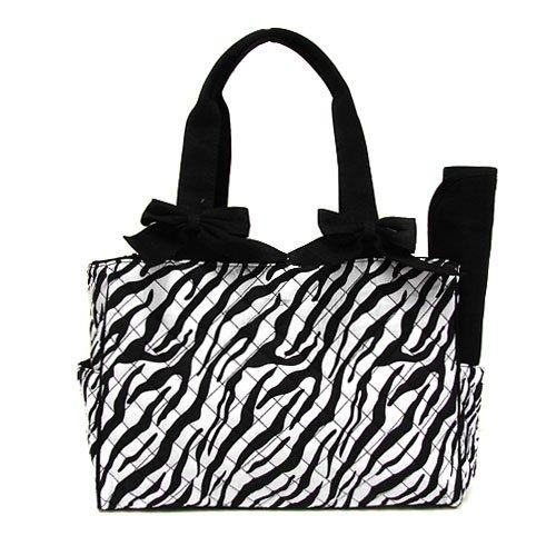 Cs Qt 1129 Quilted Zebra Diaper Bag Black - 015