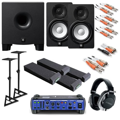 Yamaha Hs5 Ultimate Bundle W/ Monitor Controller, Subwoofer, Stands, Studio Headphones & Cables