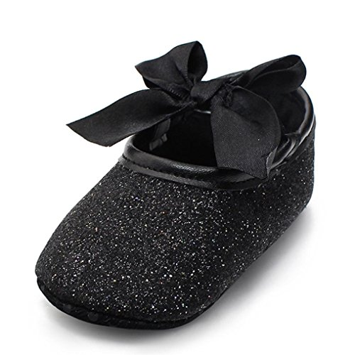 Ecosin Baby Girl Soft Sole Bowknot Bling Bling Shoes Prewalker Socks Sneakers (12/6-12months, Black)