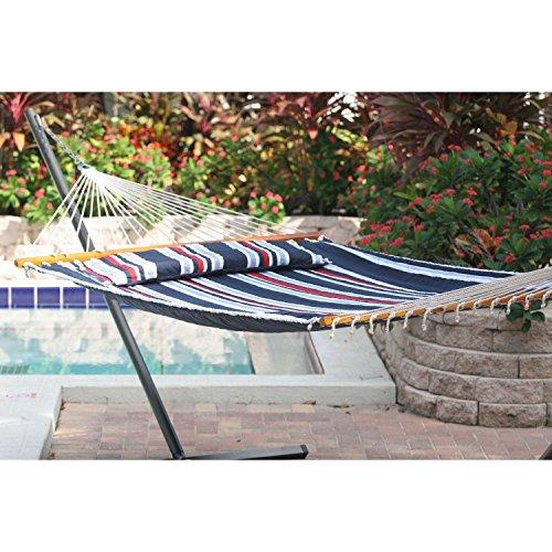 Santorini Premium Reversible Double Hammock – Navy Stripe/Solid