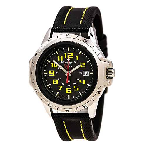 Armourlite ColorBurst Shatterproof Scratch proof Glass Yellow Tritium Watch 10 yr battery w/ Yellow Stitching on Black Leather Band AL204