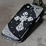 Black Silver Cross Luxury Diamond Bling Cover Case for Samsung Galaxy S3 III I9300 (black-silver)