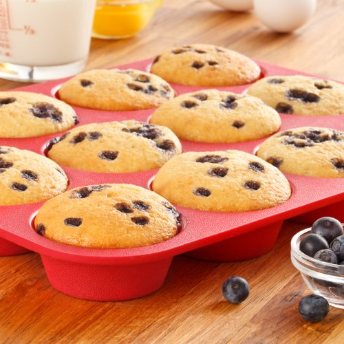 OvenArt-Bakeware-Silicone-12-Cup-Muffin-Pan-Red