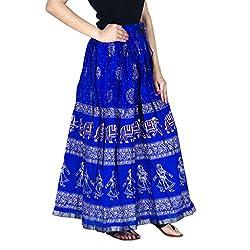 Rangsthali Gold printed Cotton long Skirt for women ( free Size)