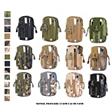 Tactical Pouch - Compact Water-resistant Multi-purpose Molle EDC Utility Gadget Gear Tools Organizer - Waist Bags Pack Cell Phone Holster - Free Bonus Mini Keychain Flashlight (Black)