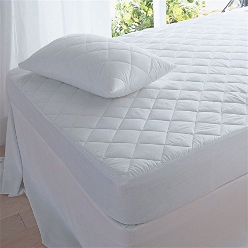 Waterproof Mattress Pad (Queen) - Fitted Cotton Protector Sheet. Vinyl-Free. Breathable. Machine wash. 60x80in
