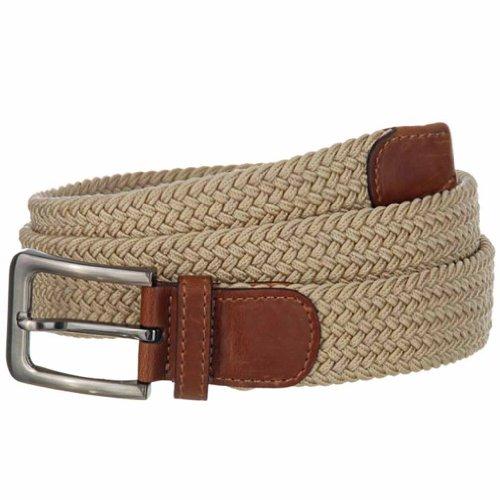Luxury Divas Beige Gunmetal Buckle Leather Tipped Braided Belt Size XX-Large