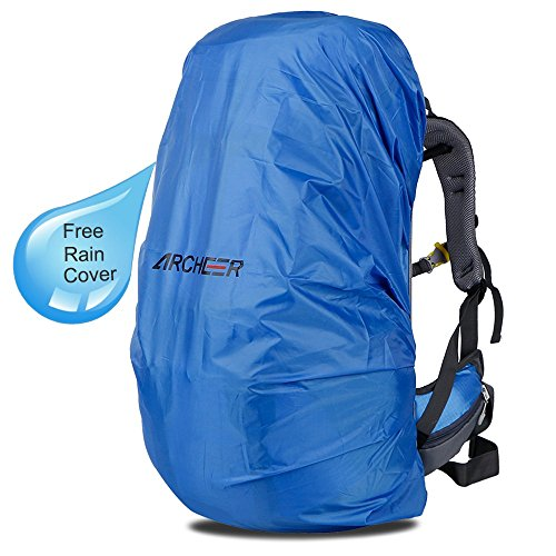 Archeer 55L+10L Zaino da Escursionismo Donna e Uomo con Copertura Protezione Impermeabile Daypack leggero ad Alta Capacità borsa da viaggio,Multifunzione Ideale per Camping Alpinismo Arrampicata Viaggio Colore Blue