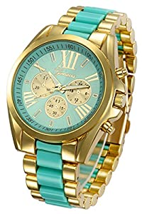 Mastop Roman Numeral Gold Plated Metal Nylon Link Analog Disply Watch (Green)